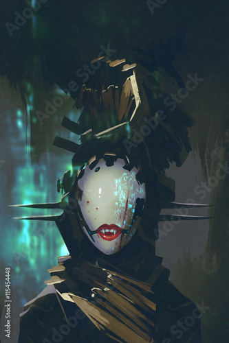 robot woman with artificial face,futuristic concept,illustration painting