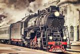Retro steam train. - 115457427