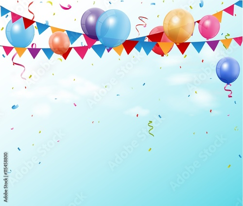Photo  Colorful birthday bunting flags and balloons with space for your text