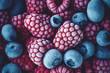 canvas print picture - Blaubeeren und Himbeeren aus dem Teifkühlfach