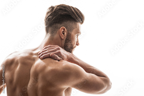 Obraz Fit man suffers from neckache - fototapety do salonu