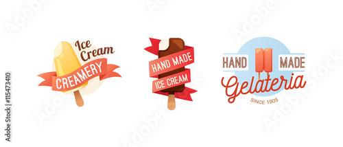 Icecream Badge Logo Food Sticky Chocolate Cold Retro