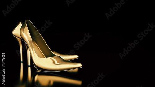 Fotografia  Close-up of female high-heeled shoes. 3d rendering