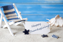 Summer Label With Deck Chair And Text Happy Thanksgiving