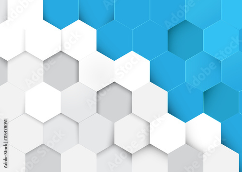 Abstract blue and white hexagon pattern background. Geometric co