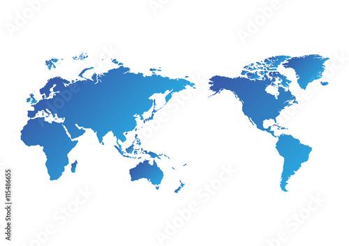 Foto op Aluminium Wereldkaart World map of vector, vector illustration