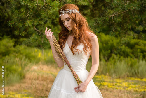 Fotografie, Tablou  Redheaded young girl in the woods