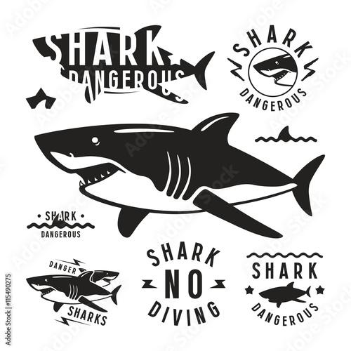 Fotografie, Obraz  Shark dangerous emblems