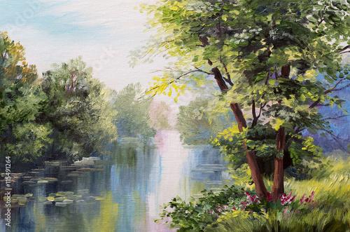 Plakat Obraz olejny krajobraz - jezioro w lesie, letni dzień