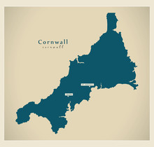 Modern Map - Cornwall Unitary Authority England UK