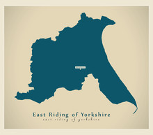 Modern Map - East Riding Of Yorkshire Unitary Authority England