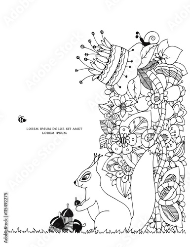 Foto op Plexiglas Art Studio Vector illustration Zen Tangle, squirrel with acorn sitting in flowers. Doodle drawing. Coloring book anti stress for adults. Black white.