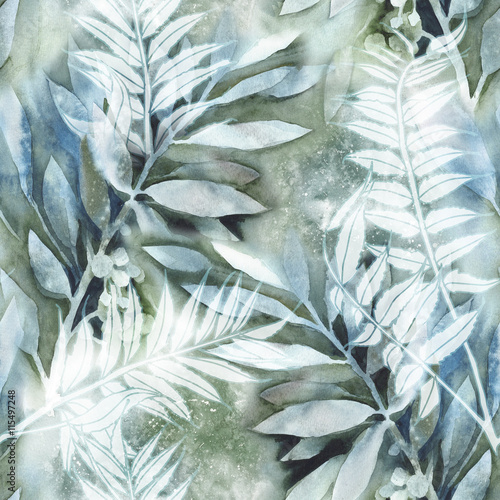 Cotton fabric Watercolor Leaves Seamless Pattern