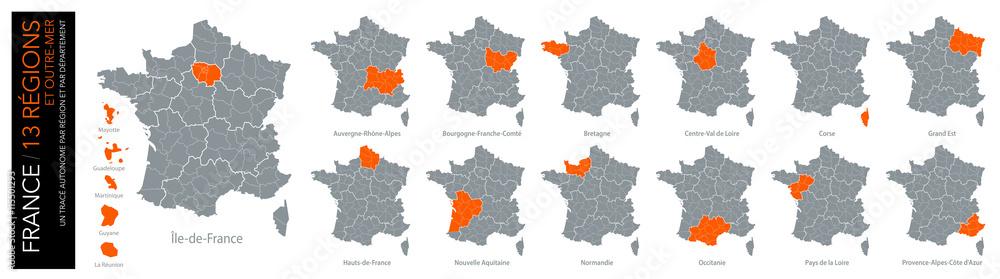 Fotografija Poster Carte De France 13 Régions Et Outre