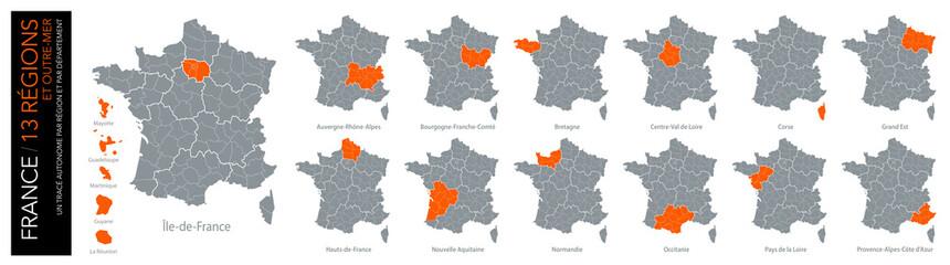 Carte de France / 13 régions et outre-mer avec départements (un tracé autonome par zone)