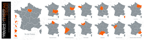 Fotomural Carte de France / 13 régions et outre-mer avec départements (un tracé autonome p
