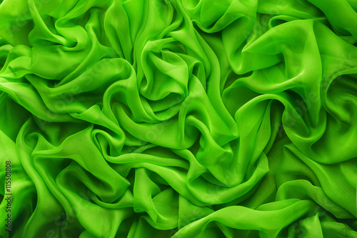 Fabric Waves Background, Cloth Wave, Green Satin Clothes Texture