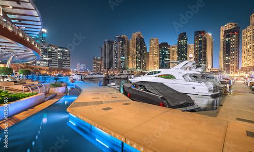Dubai Marina Walk in a magical blue night