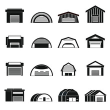 Hangar Icons Set In Simple Ctyle. Warehouse Set Collection Vector Illustration