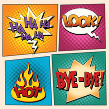 Set Comic Pop Art Bubbles With Text