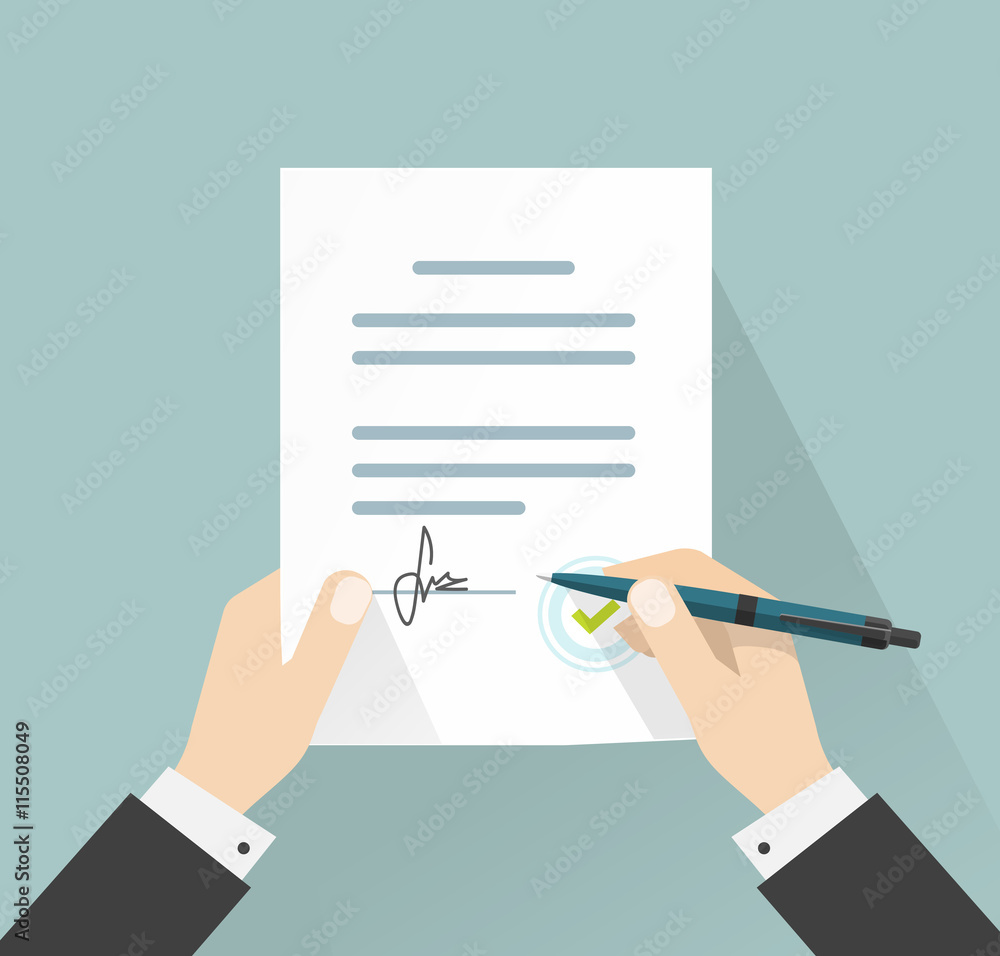 Fototapeta Agreement or contract deal businessman signing document vector illustration, man hands holding policy signed and pen, legal from with signature and stamp top view, flat cartoon design