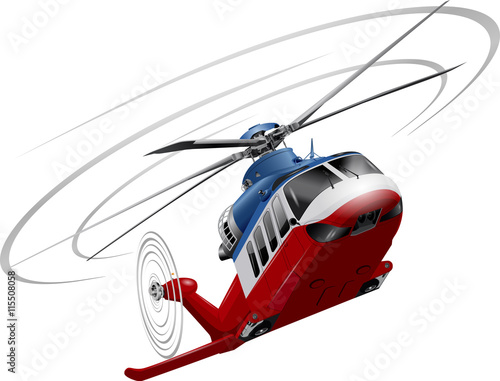 Fotografía Color image of a helicopter (red-white-blue) on a white background
