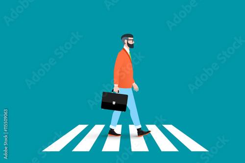 Obraz na płótnie Trendy nerd hipster pedestrian crossing continental crosswalk