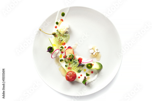 Molecular cuisine vegetable salad