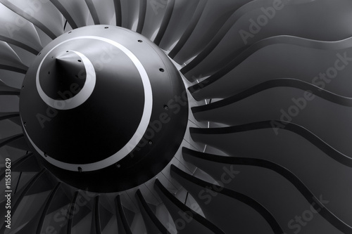 Turbine blades of turbo jet engine for passenger plane, aircraft concept, aviati Wallpaper Mural