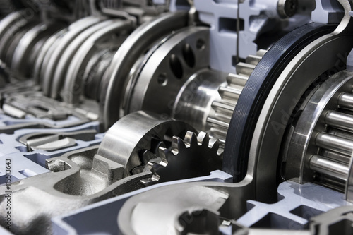 Fotografie, Obraz  Gearbox cross-section, engine industry, sprockets, cogwheels and bearings of aut
