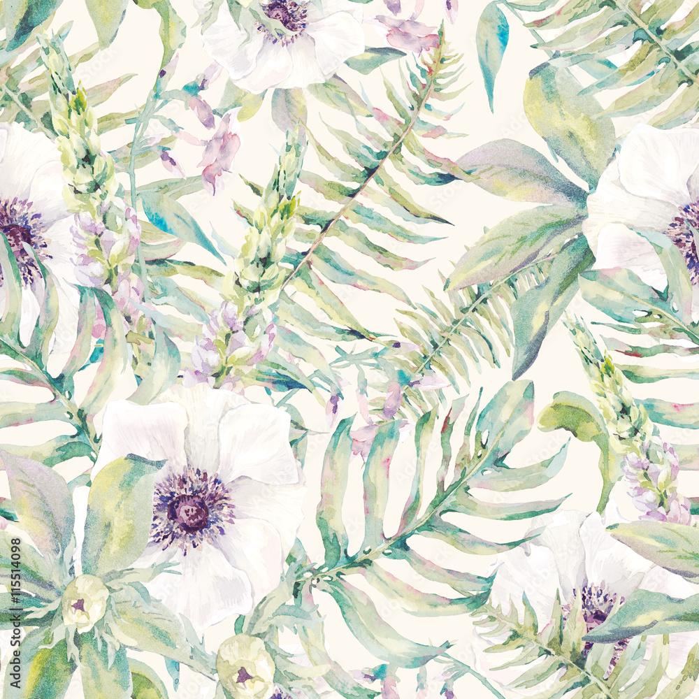 Akwarela liść wzór z paproci i kwiatów