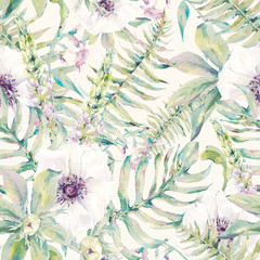 Fototapeta Watercolor leaf seamless pattern with ferns and flowers