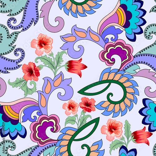 Naklejki witrażowe   jasny-wzor-z-streptokarpusy-paisley-i-kwiaty
