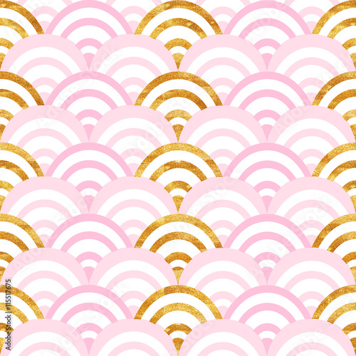 Cotton fabric gold and pink pattern wave