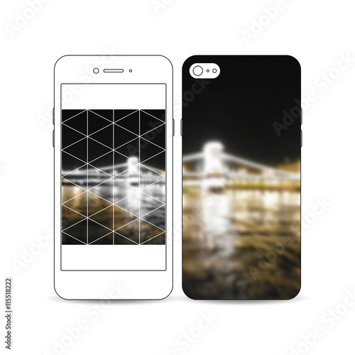 In de dag Art Studio Mobile smartphone with an example of the screen and cover design isolated on white. Colorful polygonal background, blurred image, night city landscape, modern stylish triangular vector texture