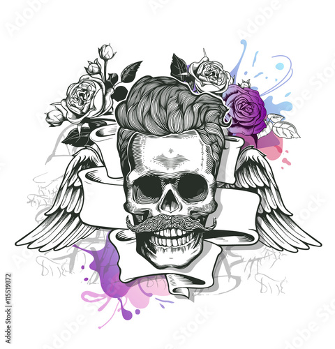 Printed kitchen splashbacks Watercolor skull Skull. Hipster silhouette with mustache and tobacco pipe ribbon, wings, bouquet of roses on a splash background. Vector illustration in vintage engraving style. Perfect for t-shirt print.