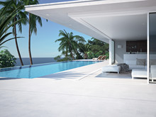 Luxury Swimming Pool And Blue Water. 3d Rendering