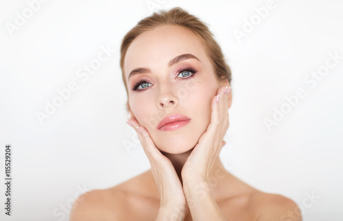 Fototapety, obrazy: beautiful young woman face and hands