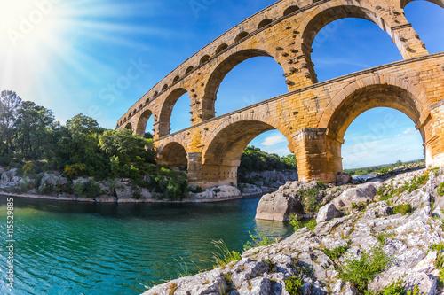 Fotografie, Obraz  Aqueduct Pont du Gard.  Photo taken fisheye lens