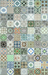 Fototapeta Mozaika ceramic tiles patterns from Portugal.