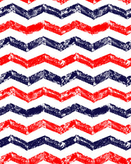 Obraz na Plexi Blue red and white grunge chevron geometric seamless pattern, vector
