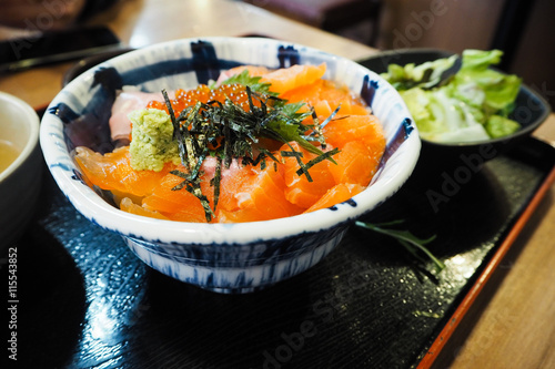 Fotografie, Obraz  A Bowl of Salmon Ikura Don