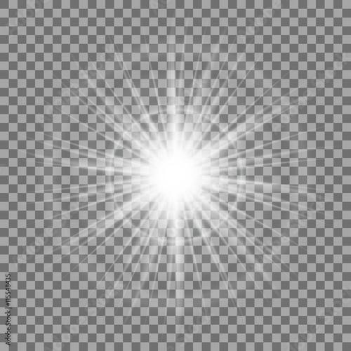 Glowing light sparkle on transparent background  Lens flare effect