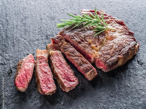 Medium Ribeye steak. Fototapet