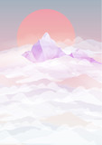 Mountains Backgrounds with Sunset above Clouds - Vector Illustration - 115552070