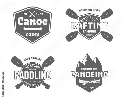 Set of vintage whitewater rafting labels vector Wall mural