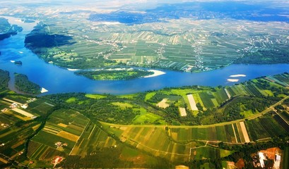 Obraz na PlexiVistula River in Poland from the air.