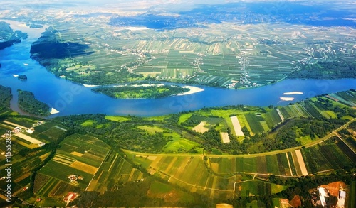 Vistula River in Poland from the air.