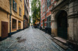 A narrow street in Galma Stan, Stockholm, Sweden.