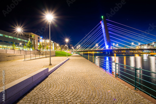 Canvas Print Crusell Bridge at night, over the Ruoholahti Canal, in Helsinki,